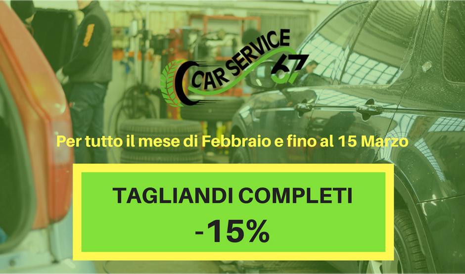 Promozione sconto 15% su tutti i tagliandi auto moto completi da Car Service 67 a Montebelluna